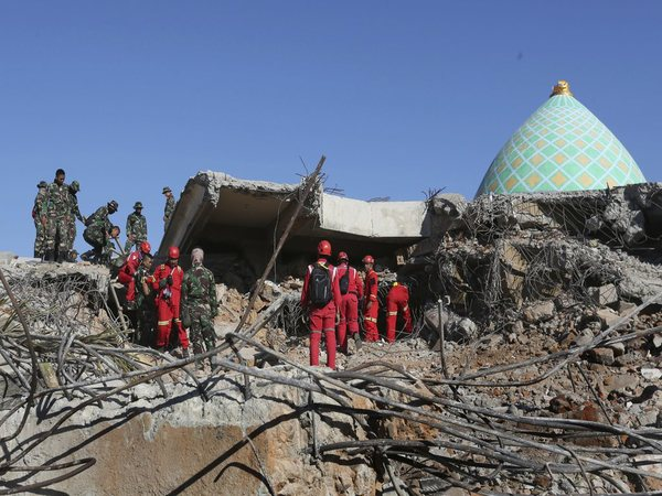 Collapsed Jamiul Jamaah Mosque in Bangsal, North Lombok
