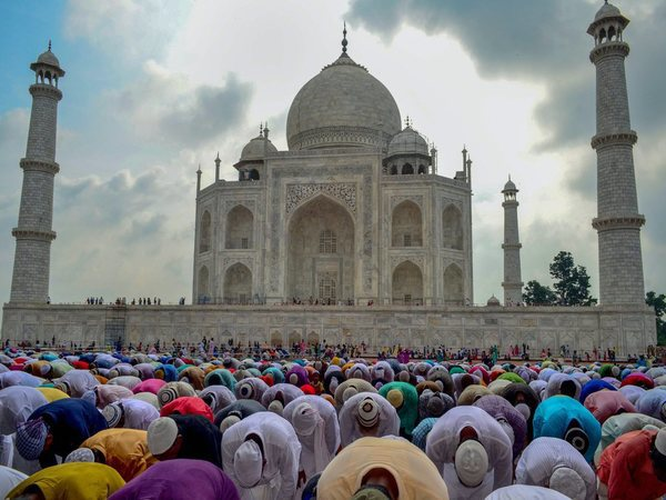 Muslims offer Namaz at the Taj Mahal mosque on the occasion of Eid al-Adha in Agra. Photo credit: PTI