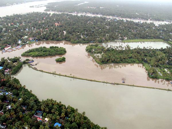 An aerial view of Aluva town following a flash flood after heavy rains, in Kochi