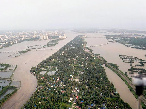 An aeriel view of the floods in Aluva after heavy rains, in Kerala. Photo credit: PTI