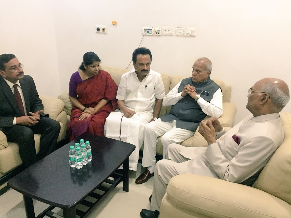 President Kovind with Stalin and Kanimozhi