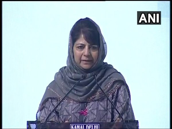 Former Jammu and Kashmir chief minister Mehbooba Mufti at a prayer meeting held to pay tribute to Atal Bihari Vajpayee (Image courtesy - ANI/Twitter)