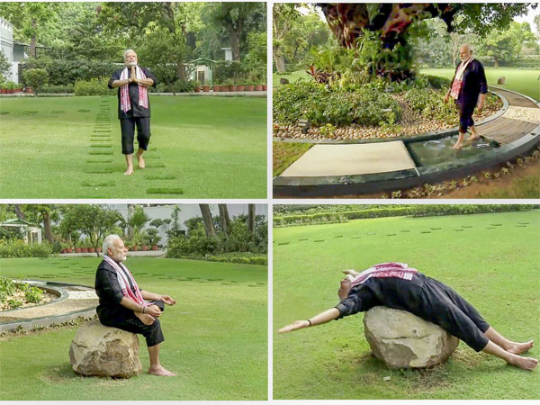 A combo picture of the still images taken from a video shows Prime Minister Narendra Modi doing yoga exercises