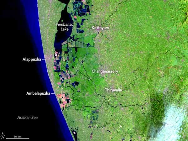 NASA releases images of before and after Kerala flood