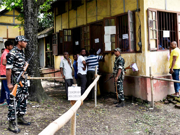 Security personnel keep vigil at a NRC Seva Kendra after the final draft of the National Register of Citizens (NRC) was released, in Guwahati