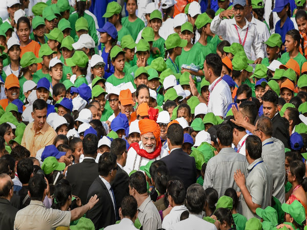 Children jostle to meet, interact with PM Modi at Red Fort