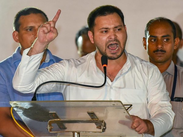 Tejashwi Yadav addressing rally in protest against Bihar rape incidents. Photo credit: PTI