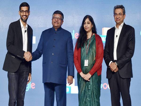 IT minister Ravi Shankar Prasad with Google CEO Sundar Pichai