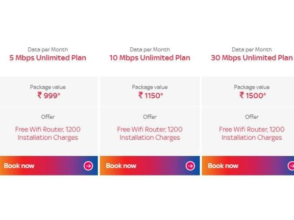 What are the Tata Sky Broadband plans?