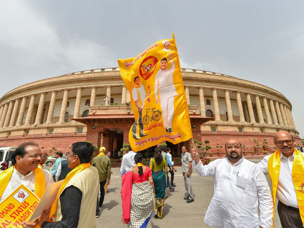 Telugu Desam Party (TDP) MPs stage a protest demanding special status for the state of Andhra Pradesh, during the Monsoon session of Parliament, in New Delhi