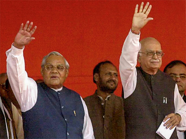 file photo former prime minister Atal Bihari Vajpayee is seen with BJP senior leader LK Advani