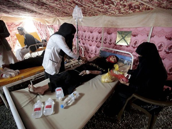 Elderly woman is treated for suspected cholera infection in Yemen