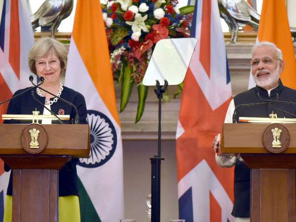 File photo of Theresa May with PM Modi