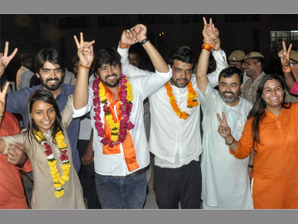 ABVPs panels newly elected DUSU President Ankiv Basoya (3rd R) Shakti Singh (Vice President) and Joint Secretary, Jyoti Choudhary (L) celebrate after DUSU Election Result 2018, in New Delhi