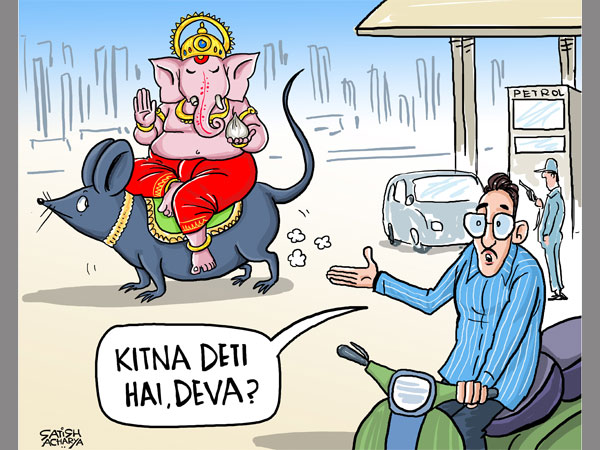 ganesha festival, ganesh chaturthi 2018, festival, fuel price, cartoon, satish acharya
