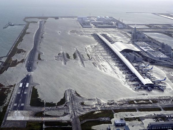 File photo of Kansai International Airport following a powerful typhoon on Sep 4