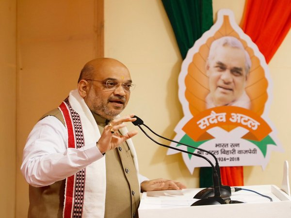 BJP chief Amit Shah addressing party workers at National Executive meet in New Delhi
