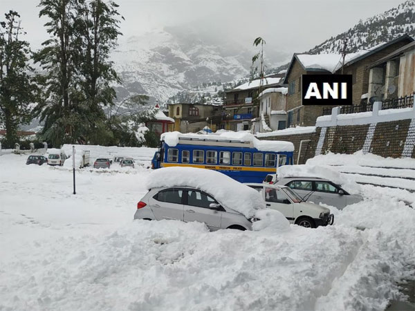 Snow-clad Keylong in Lahaul-Spiti district. Courtesy: ANI news