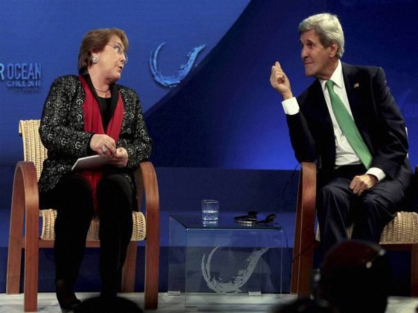 File photo of Michelle Bachelet with Secretary of State John Kerry. Photo credit- PTI