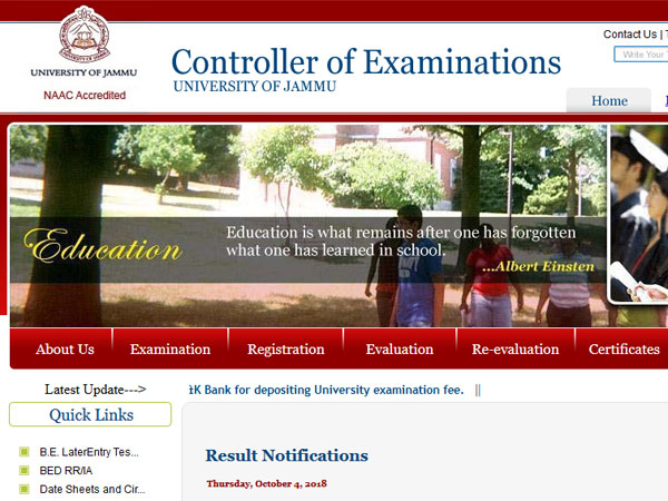 Jammu University UG 4th, 6th, semester result 2018, apply for revaluation