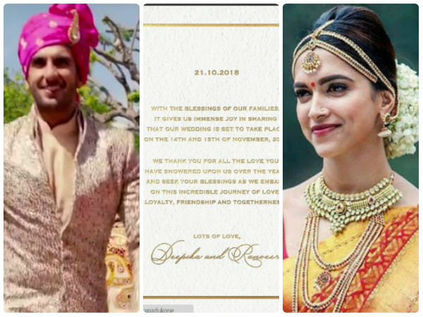 Its official! Deepika and Ranveer to get married on Nov 14, 15