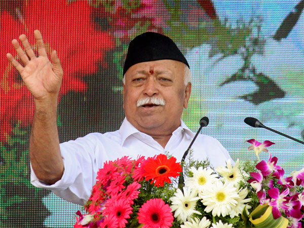 RSS chief Mohan Bhagwat addresses the Vijay Dashmi function at RSS headquaters in Nagpur, Maharashtra