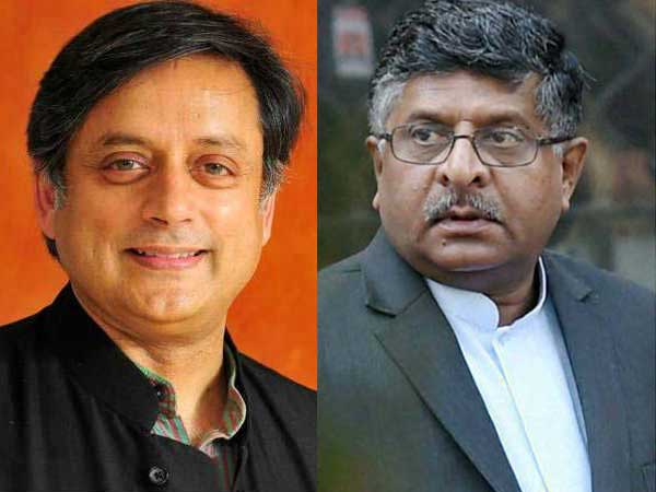 Tharoor sends legal notice to Ravi Shankar Prasad