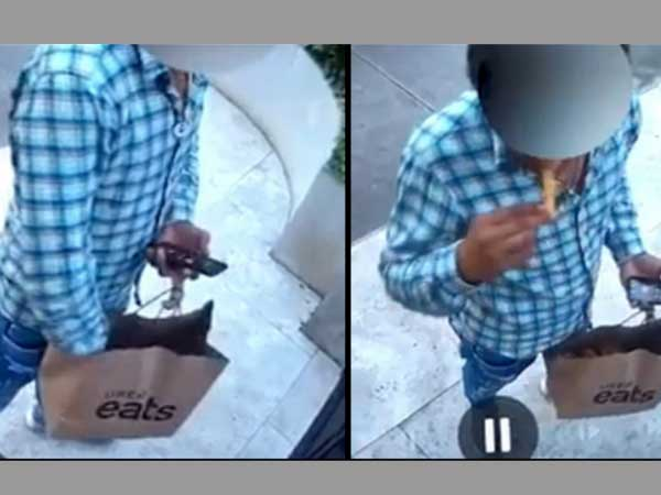 Deliveryman eats food from customer's order before delivering