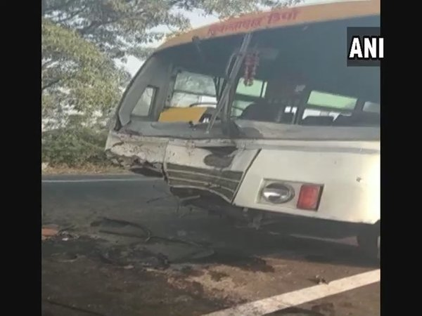 6 killed, 13 injured as bus collides with vehicle in Sambhal district . Courtesy: ANI news