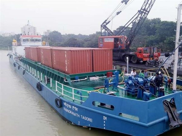 India's first container vessel movement on inland waterways begins. Courtesy: @nitin_gadkari