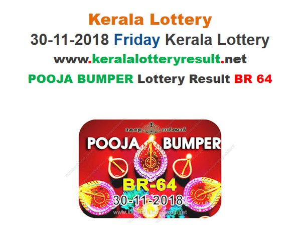 Kerala Lottery Result Pooja Bumper Lottery BR-64 Results