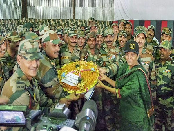 Defence Minister Nirmala Sitharaman celebrating Diwali with soldiers, their families at Hyulong in Arunachal Pradesh