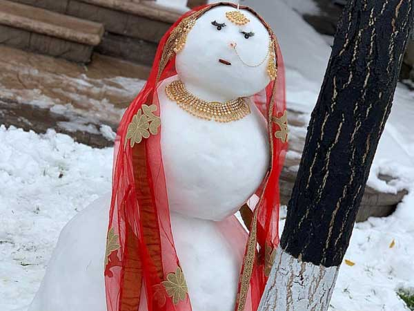 Western snowman is passé, here comes an Indian snow woman and she is winning the Internet