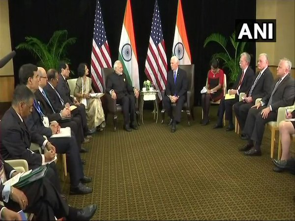 PM Modi meets US Vice President Mike Pence in Singapore; discusses H1-B visa issue