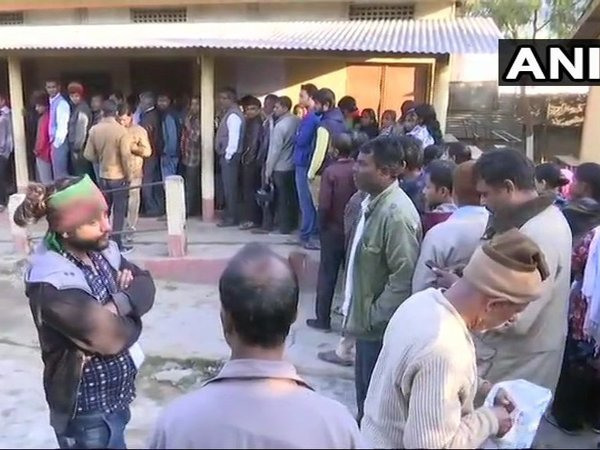 Voting underway at a polling booth in Guwahati. Courtesy: ANI news