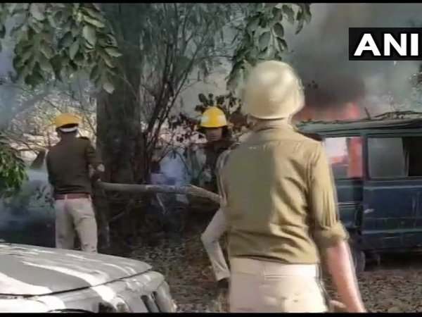 One police inspector dead during a clash with people protesting against illegal slaughterhouses in Bulandshahr. Courtesy: ANI news