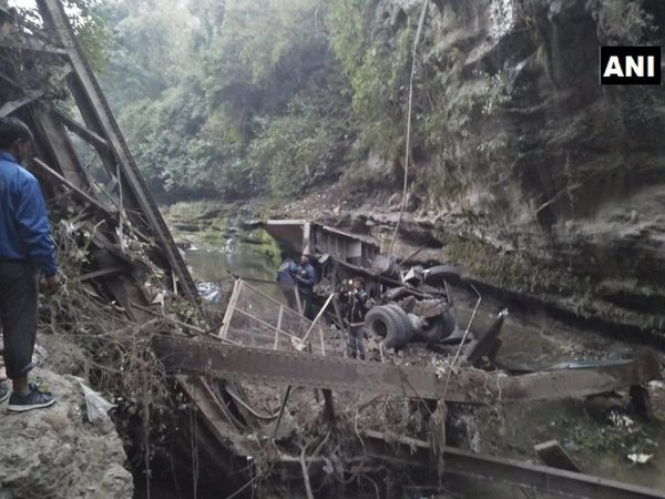Uttarakhand: 2 killed as 100-yr-old bridge collapses (Image courtesy - ANI/Twitter)