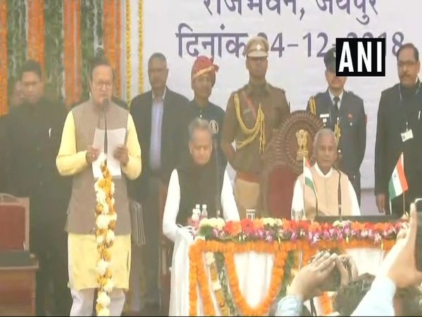 Ashok Gehlots cabinet being sworn-in (Image courtesy - ANI/Twitter)