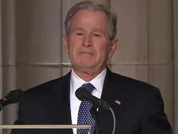 President for president: George W Bush breaks down while paying tributes to George H W Bush