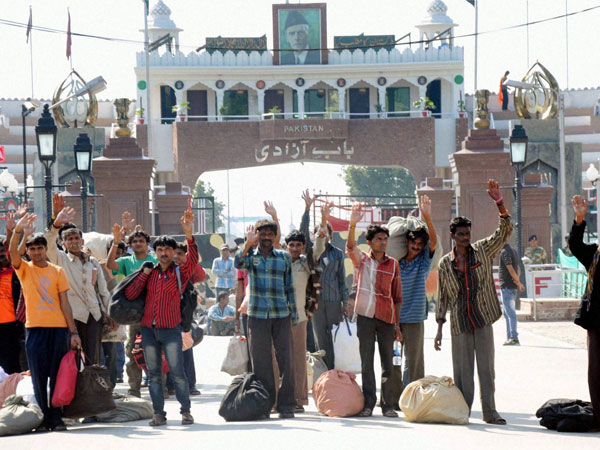 Indian prisoners arrive India through Attari-Wagah land border after they were released by Pakistan