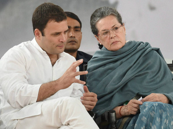 A file photo and Rahul Gandhi and Sonia Gandhi