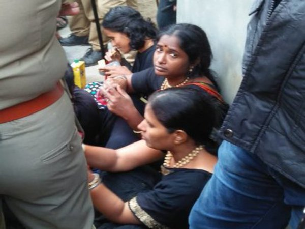 11 women managed to reach the base camp at Pamba but were stopped by protestors (Image courtesy – ANI/Twitter)