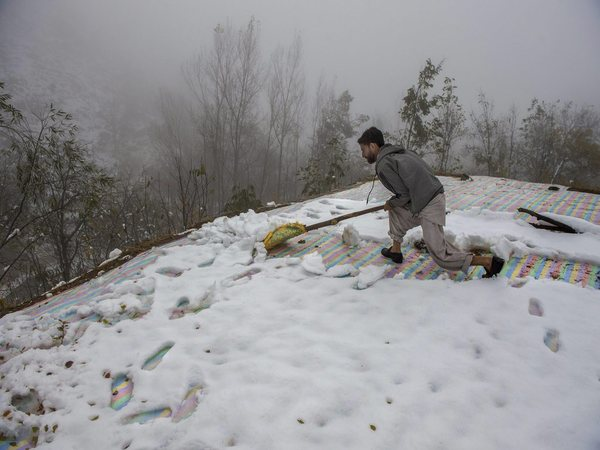 A man clears snow from the roof top of his mud-house on the out skirts of Srinagar