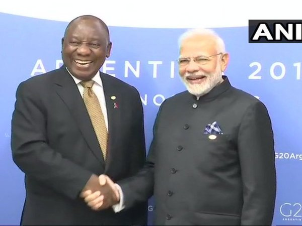 Prime Minister Narendra Modi meets President of South Africa Cyril Ramaphosa in Buenos Aires. Courtesy: ANI news