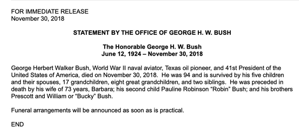 Statement by George W Bush on passing away of his father