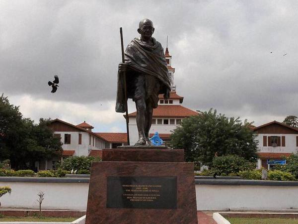 A statue of Indian independence leader Mahatma Gandhi in Accra, Ghana, Thursday, Sept. 22, 2016. Professors at a university in Ghanas capital are campaigning for the removal of a new statue of Indian independence leader Mahatma Gandhi. (AP Photo/Christian Thompson). PTI file photo
