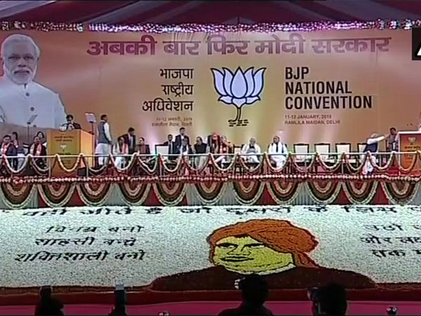 Prime Minister Narendra Modi and BJP President Amit Shah arrive at Ramlila Ground to attend the two-day BJP National Convention. Courtesy: ANI news