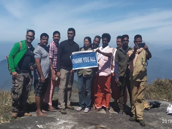 Defense PRO Dhanya Sanal became the first woman to trek Agasthyarkudam peak. Courtesy: ANI news