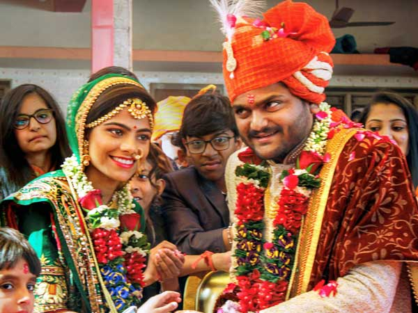 Gujarat Patidar leader Hardik Patel during a function where he ties knot with Kinjal Parikh, at Digsar village of Muli taluka in Surendranagar district of Gujarat