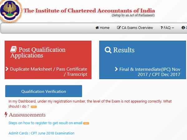 ICAI CA Result 2018 to be released today at 6 pm, details here